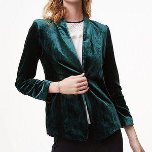 LOFT | green velvet open blazer cardigan | XXS